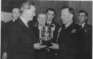 Presentation of The Chronicle Cup to Newbiggin - 1954.